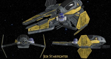 Jedi Starfighter, 3 View, Wings Open